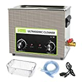 Ultrasonic Cleaner 6L, ONEZILI 180W Ultrasonic Parts Cleaner, Knob Control Ultrasonic Cleaning Machine with Heater, Professional for Parts, Carburetor, Fuel Injector, Brass, Tattoo Equipment, Razors