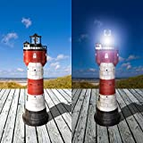 108 cm XXL Solar Leuchtturm ROTER SAND mit rotierender LED-Beleuchtung