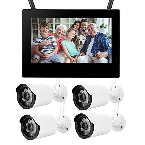 LXYPLM Cámara Vigilancia Cámara Inalámbrica 10in 1.3MP HD Inalámbrico WiFi Monitor De Bebé 4 Cámaras Smart DVR Sistema De Seguridad para El Hogar Monitor De Bebé