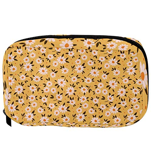 TIZORAX Cosmetic Bags Daisy In Yellow Handy Toiletry Travel Bag Organizer Makeup Pouch for Women Girls