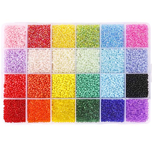 26400pcs 2mm Glass Seed Beads 24 Colors Small Beads Kit Bracelet Beads with 24-Grid Plastic Storage Box for Jewelry Making