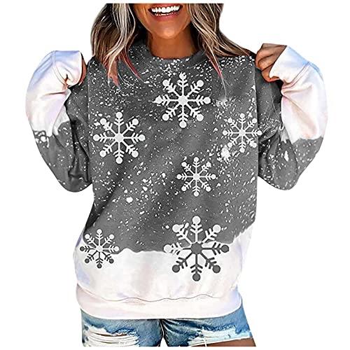Camiseta de manga larga y cuello redondo para mujer, para el tiempo libre, para el invierno, gris, L