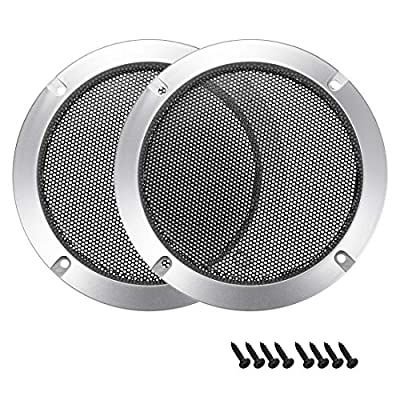 "sourcing map 2pcs 5"" Speaker Grill Mesh Decorative Circle Woofer Guard Protector Cover Audio Accessories Silver from sourcing map"