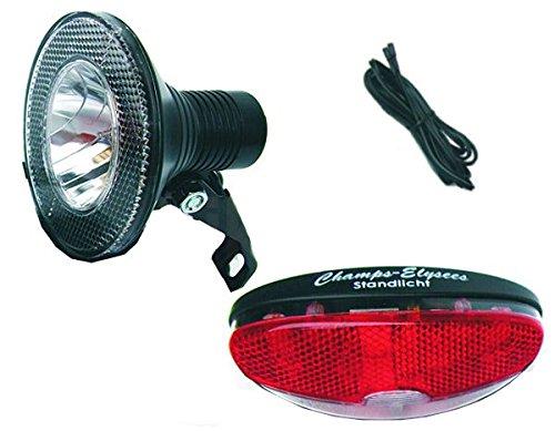 Black Dingo Cycling Products BDCP Fahrrad Nabendynamo Beleuchtungsset 1, Roadlite Halogenscheinwerfer, Rücklicht und Kabel