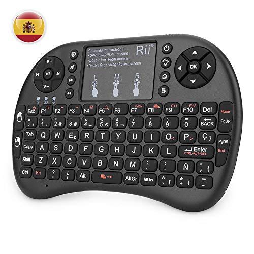 (Actualizado, Retroiluminado) Rii i8+ Mini teclado inalámbrico 2.4Ghz con touchpad...