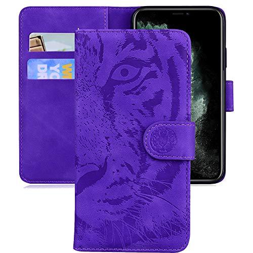 Capa carteira XYX para Galaxy A70, capa para Samsung A70 Tiger capa protetora de couro PU para Samsung Galaxy A70 - roxa