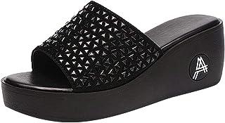 Padaleks Wedge Sandals for Women Casual Ladies Thick Bottom Platform Slippers Peep Toe Flip Flops Walking Shoes