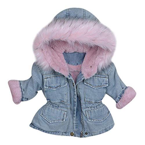 AMIYAN Jeansjacke Baby Mädchen Winter Denim Jacket Gefütterte Jeans Jacke mit Fell Winter Mantel süße Winter Kapuzenjacke mit Kunstfell Warm Winterjacke Outerwear 1-5 Jahre, Rosa, 100