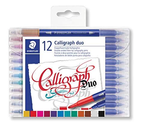 STAEDTLER 3005 TB12 Doppelfasermaler Kalligraphie (zwei Spitzen für schmale und breite Linien) Klarfaltetui mit 12 leuchtenden Farben