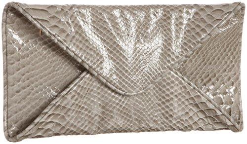 Loeffler Randall Katia Envelope Clutch, Light Grey Snake, one size