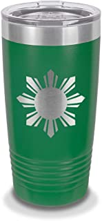 Philippines Sun 20 oz Laser Engraved Polar Camel Stainless Steel Vacuum Insulated Tumbler w/Clear Lid filipino stars flag - Customizable - Green