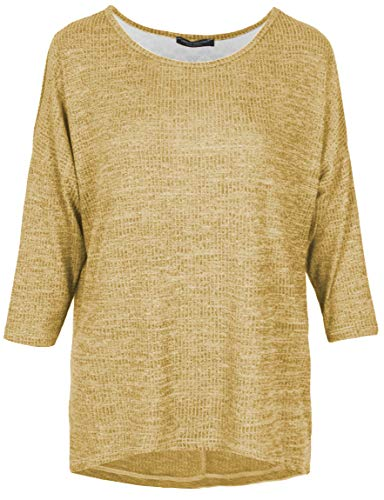 Emma & Giovanni - Oversized T-Shirt/Bluse mit Spitze, 3/4 Ärmel für alle Jahreszeiten, Loose Fit - Damen (Senf, 36-38)