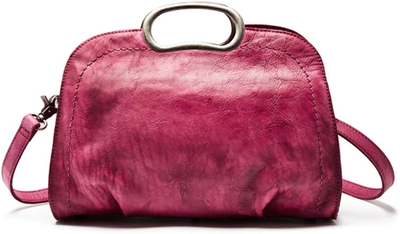 Jiuyizhe Vintage Echtleder Crossbody Tasche Tasche Tasche für Frauen handgemachte Geldbeutel Schulranzen (Farbe   Rosa) B07JHSP5KB be39fb