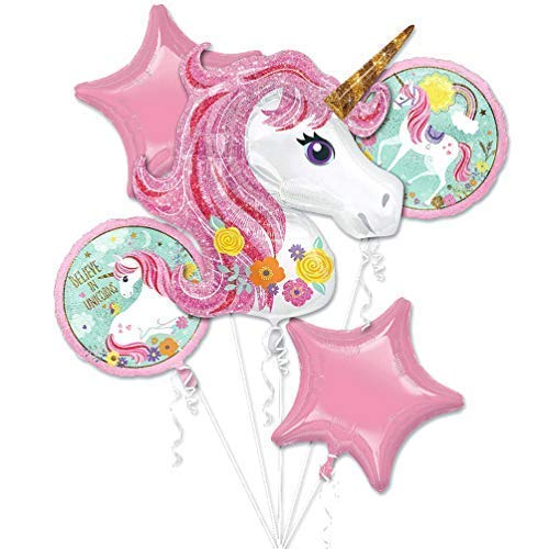 Unicorn Balloon Rainbow Bouquet Theme Party Supplies Niños Niñas Lámina de cumpleaños Decoraciones con globos de helio Decoración mágica Paquete de 5 (Rosa)