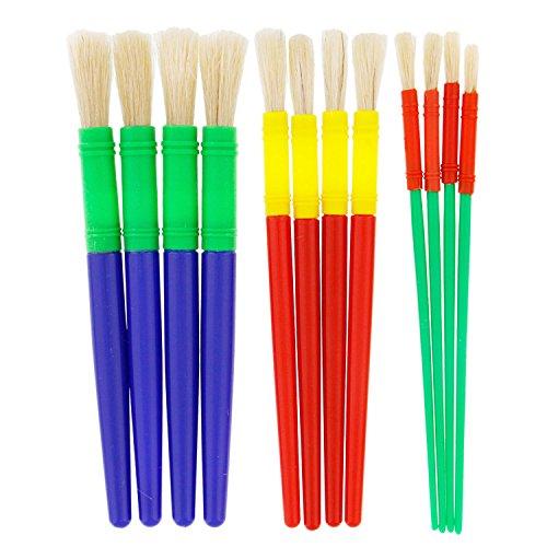 US Art Supply 12 Piece Round Children's Tempera Paint Brushes in 3 Sizes