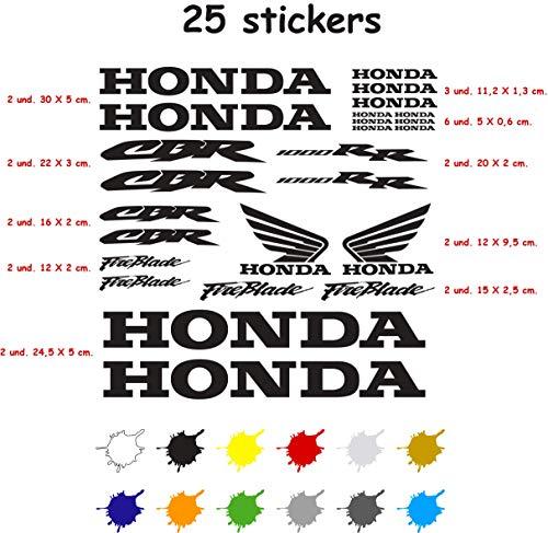 Kit Aufkleber Aufkleber Vinyl 7 Jahre Vogelmalerei Kompatibel mit Honda CBR 1000 RR Enthält 25 Aufkleber - Schwarz