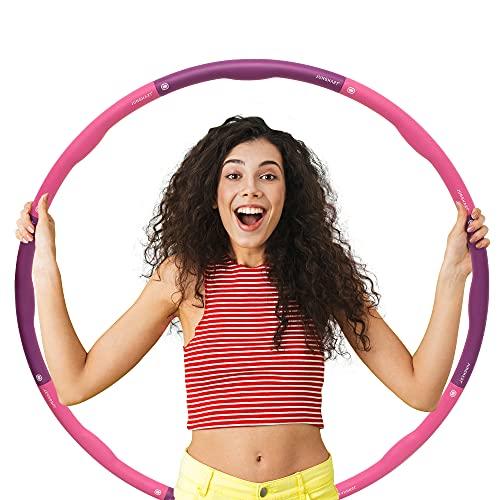 Junghart Fitness Hula Hoop Reifen Erwachsene | 1,2 kg und 100 cm | Zerlegbarer Weighted Hula Hoop mit Massage-Noppen | Hula-Hoop Reifen zum Abnehmen