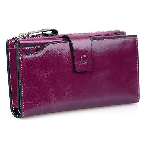Jack&Chris Ladies Wallet Women's RFID Blocking Wallet Genuine Leather Clutch Card Holder Large Purse,Waxed Fuchsia