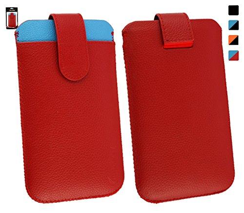 Emartbuy® Genuine Calfskin Leder Rot/Blau In Hülle Case/Tasche Hülle schieben (Größe 4XL) mit CRotit Card Slot & Pull Tab Mechanismus für geeignet Motorola Moto G (2014) / Moto G Dual SIM/Moto G2