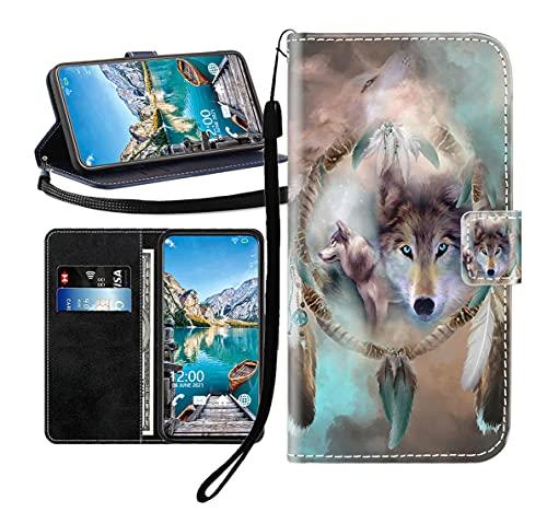 Sunrive Kompatibel mit DOOGEE Mix 2 Hülle,Magnetisch Schaltfläche Ledertasche Schutzhülle Etui Leder Hülle Handyhülle Tasche Schalen Lederhülle MEHRWEG(Wolf Traumfänger B1)