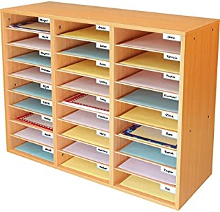 Really Good Stuff Mail Center – 1 Oak Classroom Mail Center with 27 Slots – Keep Your Classroom or Office Organized, Durable, Easy Assembly, 159790OA