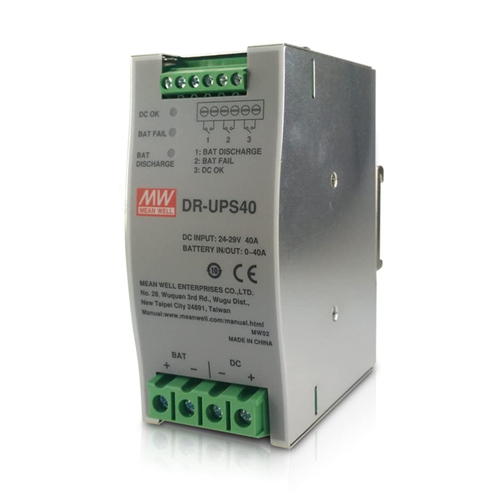 Original Mean Well Uninterruptable Power Supply DC Input 24-29V 40A DC UPS Module Uninterrupted Switching Power Supply Battery Controller for DIN Rail UPS System