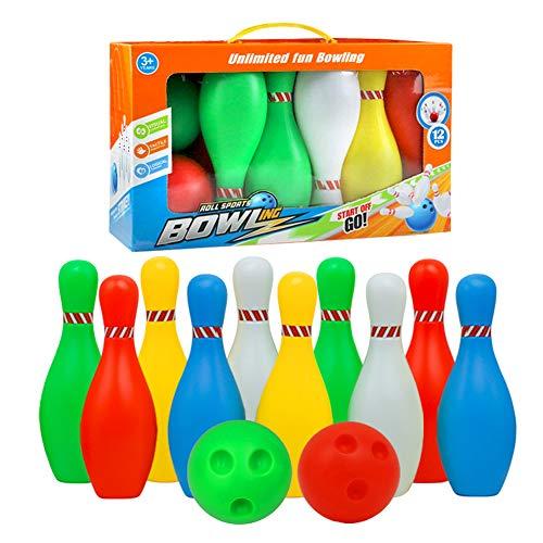 L.T Bowlingkugel Boule-Spiele Kegelspiel pädagogische interaktive Spielzeug für Kinder ab 3 Jahren (Große - 7 Stück) , MEHRWEG