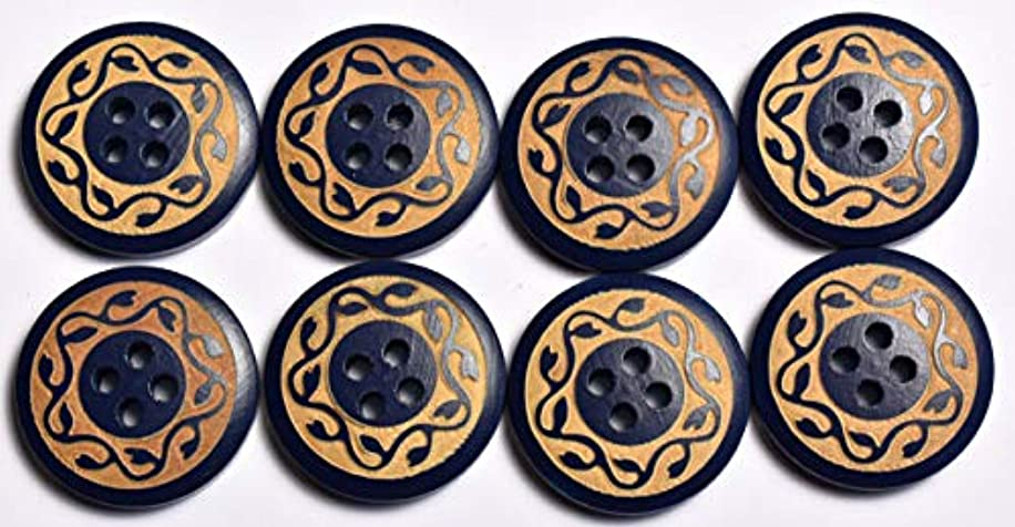 SFG Laser Engraved Round Wood Buttons Vine 4 Holes 32L 20mm 3/4in (Blue Qty 16)