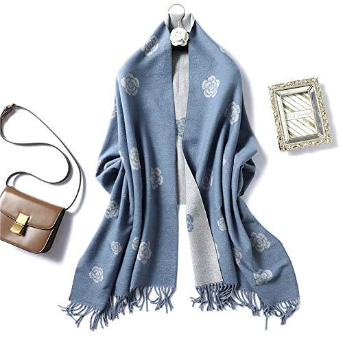 Elegante Kamelie Frauen Winter Schal Warme Quaste Pashmina Schals Dicke Doppelseitige Weibliche Blumenschals Wj102-Skyblue
