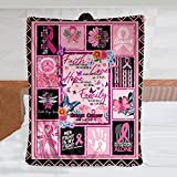 Pink Ribbon Breast Cancer Awareness Soft Fleece Throw Blanket with Inspirational Positive Energy Gifts for Women, Men Or Breast Cancer Patient