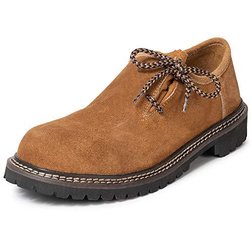 PAULGOS Trachtenschuhe Echt Leder Haferlschuhe Haferl Trachten Schuhe in 3 Farben Gr. 39-47, Schuhgröße:45, Farbe:Hellbraun