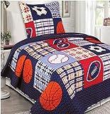 MK Home Collection Bedspread Set Boys Sport Football Basketball Baseball Dark Blue (Twin)