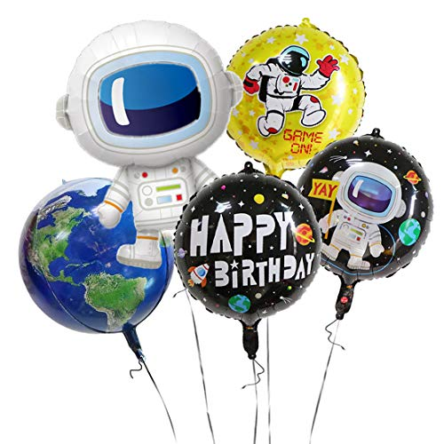 GIHOO 5PCS Outer Space Party Supplies - Astronaut Foil Balloon, Black Happy Birthday with Space Ship Foil Balloons, Yellow Astronaut Balloon, 4D Earth Balloon for Birthday Party Decor