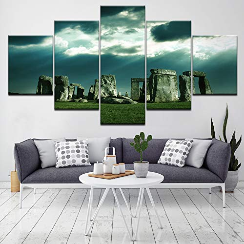 YTDZ Bilder Stonehenge bleibt Landschaft auf grünem Gras 100x55cm Vlies Leinwandbild 5 TLG Kunstdruck modern Wandbilder XXL Wanddekoration Design Wand Bild