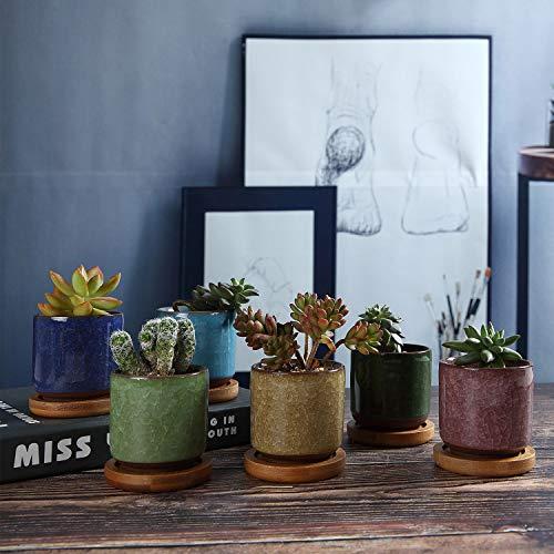 T4U6cm冰裂紫砂陶器植木鉢多肉植物鉢サボテン鉢フラワーポットバンブートレイ付き底穴付き6色セット