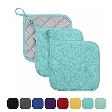 VEEYOO 100% Cotton Pot Holders Hot Pads Quilted Trivet Mats Spoon Rest Heat Resistant 7x7 , Set of 3, Aqua Blue