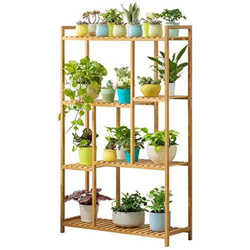 HLQW Support à fleurs pour balcon, étagère de bacs à fleurs à plusieurs étages, type de plancher Étagère à fleurs en dentelle verte.