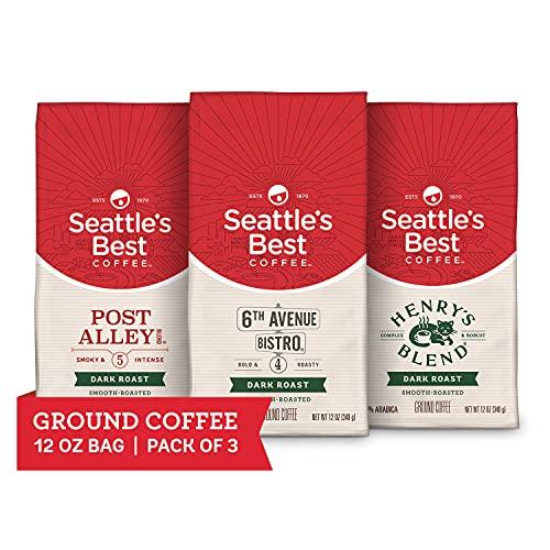 Seattle's Best Coffee Dark Roast Ground Coffee Variety Pack | 12 Ounce Bags (Pack of 3)