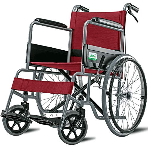 GGXX Wheelchair For The Elderly, The Disabled, Thickened Steel Tube Wheelchairs, Household Wheelchairs, Foldable Wheelchairs, 22-Inch Solid Big Tires
