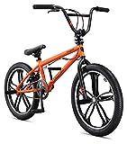 Mongoose Legion Mag Freestyle Sidewalk BMX Bike for-Kids,-Children and Beginner-Level to Advanced Riders, 20-inch Wheels, Hi-Ten Steel Frame, Micro Drive 25x9T BMX Gearing, Orange