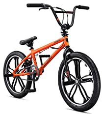 Mongoose Hi-Ten steel BMX frame and fork is sturdy and ready for action Tough machined aluminum mag wheels with sealed bearings gives a look that will turn heads 4 freestyle pegs offer unlimited trick potential, along with a cable detangler for 360 d...