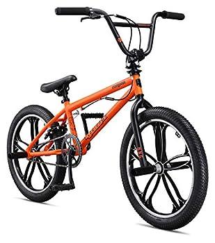 Mongoose Legion Mag Freestyle Sidewalk BMX Bike for-Kids,-Children and Beginner-Level to Advanced Riders 20-inch Wheels Hi-Ten Steel Frame Micro Drive 25x9T BMX Gearing Orange