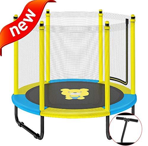 DXIUMZHP Trampoline Hochelastisches Trampolin Indoor-Trampolin Für Kinder Sprungbett Mit Sicherheitsnetz Garten Im Freien Rebounder Größe: 4,9 FT (Color : Yellow-C, Size : 150 * 125cm)