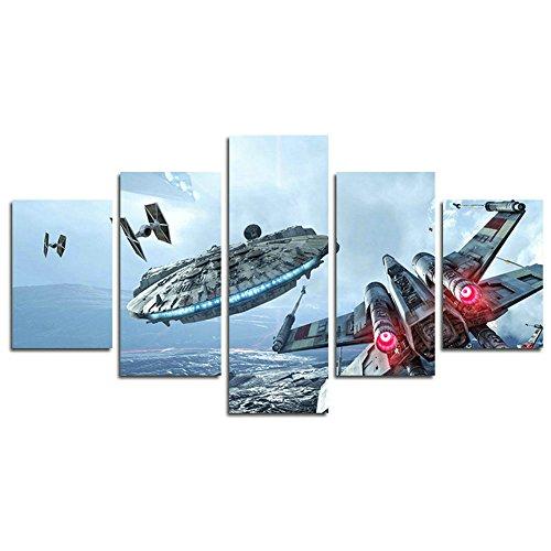 Leyruk 5 piezas Millennium Falcon X Wings Canvas Art Decoración de póster impresa de Star Wars (Sin marco) Sin marco Tamaño X032 size: 50 inch x30 inch