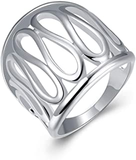 HOT Fashion Women 925 sterling silver jewelry thumb hollow ring (Size #8)