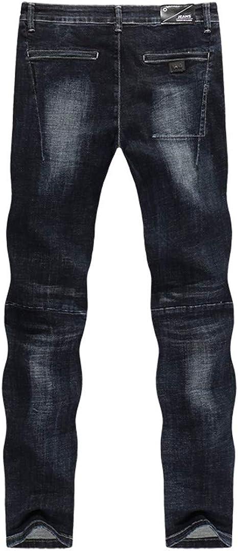 KIUYMRV Hommes Automne Hiver et Denim Pantalon Droit Slim Black Stretch Bleu Thicken patché Poches Jeans Picture Color