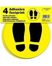 Señal adhesiva huella amarilla para suelo | Separadores para colas de comercios | Pack de 4 unidades de 19 cm (amarillo)