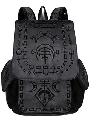 Restyle Dark Dreams Gothic Witchy Mond Runen Magie Tasche Schultasche Rucksack okkult schwarz