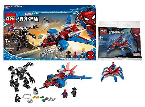 Lego Marvel Spider-Man 76150 Spiderjet vs. Venom Mech + Lego Marvel 30451 Spider-Man Mini, Polybag, ab 7 Jahren