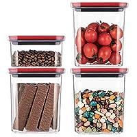 保存容器・キャニスター 家庭用防湿米バケツ、 ふた付きキッチンシリアルディスペンサー、 手ごろな価格の密閉缶セット、 安全で耐久性 (Color : RED-4 SET B)